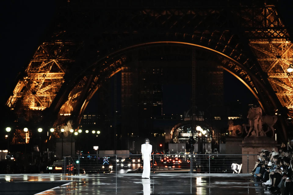 A model wears a creation for Saint Laurent Spring-Summer 2022 ready-to-wear fashion show presented Tuesday, Sept. 28, 2021, in Paris. (AP Photo/Thibault Camus)
