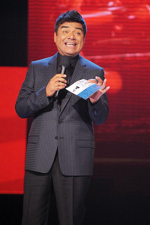 "LL's co-host George Lopez was also on hand to announce some of the Grammy nominees. Is it just us, or was his suit a mismatched mess? Michael Caulfield/<a href=""http://www.wireimage.com"" target=""new"">WireImage.com</a> - December 2, 2009"