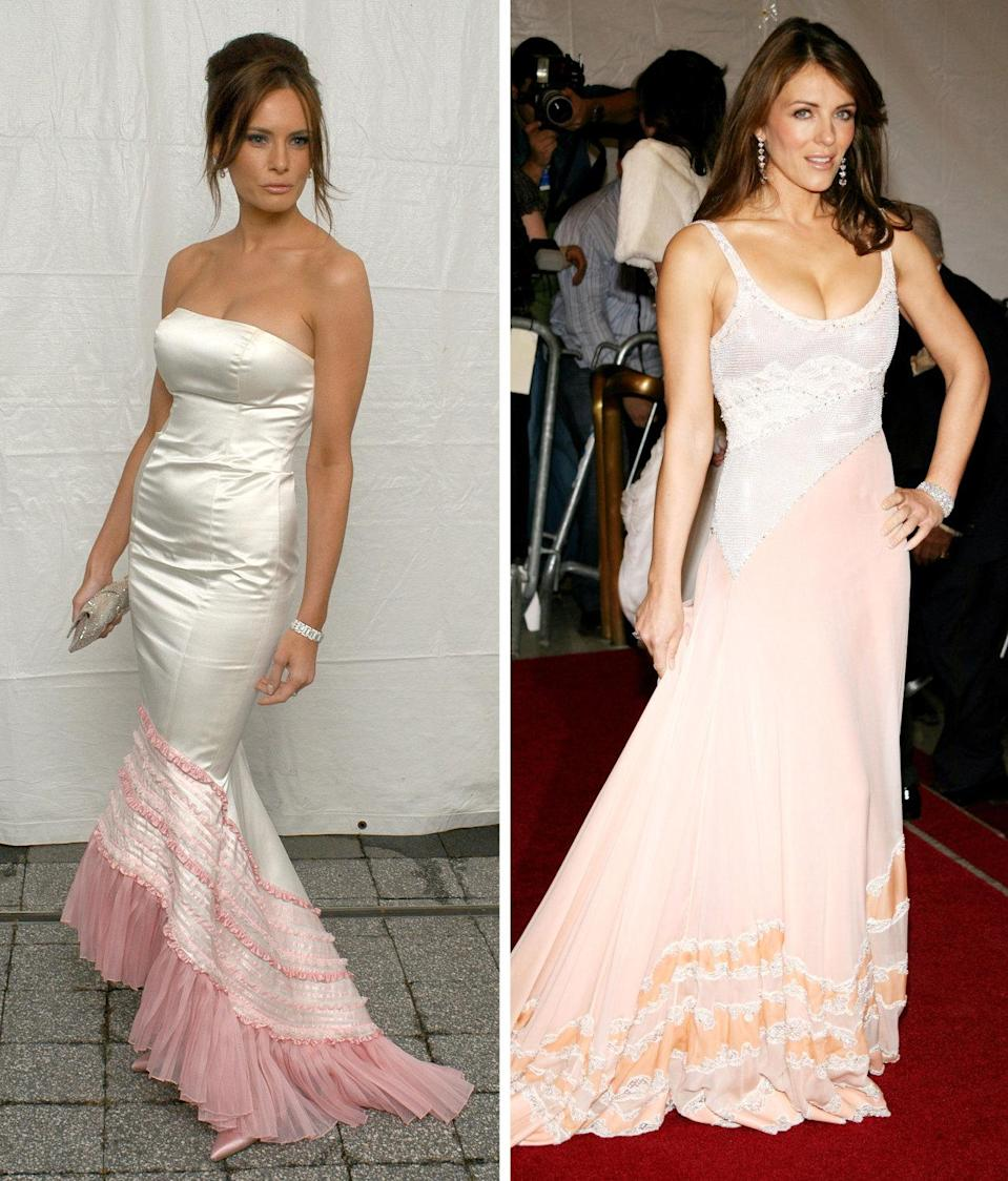 <p>We've seen pink dip-dyed dresses in bridal wear, but both Trump and Hurley tried experimenting with the trend on the red carpet. Trump's version is satin and strapless with pink ruffled details at the mermaid hem, while Hurley's is more subtle, with a glitzy bodice and an ultra-light pink skirt. Who do you think did it better? <i>Photos: Getty</i></p>
