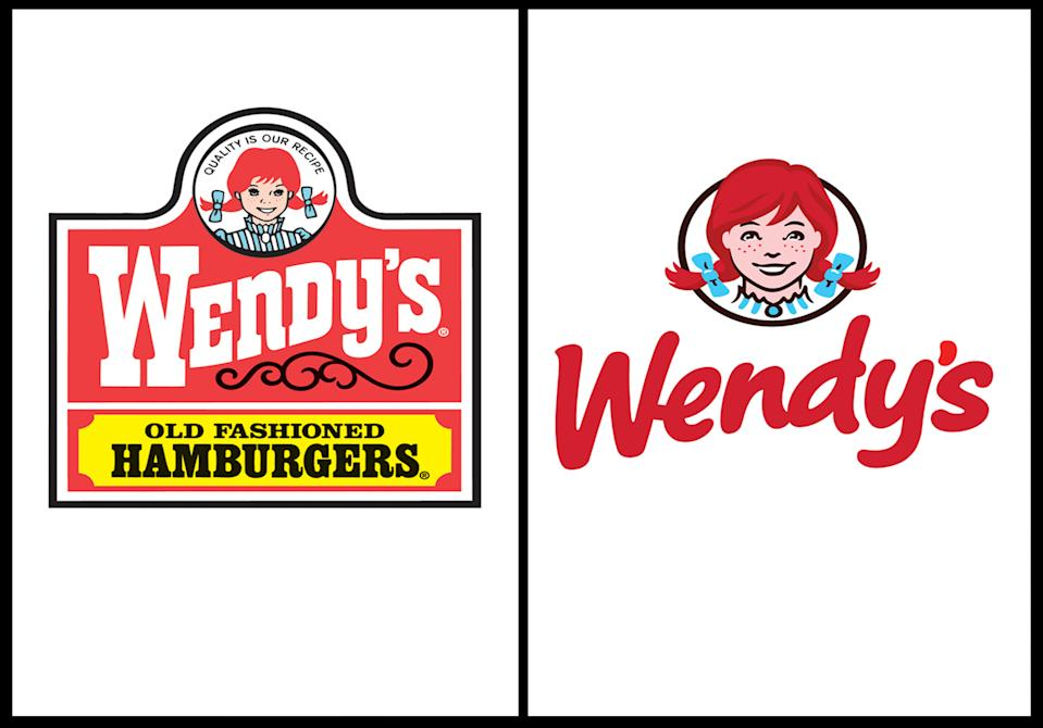 <p> This combination of undated images provide by Wendy's show the fast food company's original logo, left, and new logo, right. For the first time since 1983, the Dublin, Ohio-based fast food company announced it is updating its logo on Thursday, Oct. 11, 2012. In a move intended to signal its ongoing transformation into a higher-end hamburger chain, instead of the boxy, old-fashioned lettering against a red-and-yellow backdrop, the pared down new look features the chain's name in a casual red font against a clean white backdrop. (AP Photo/Wendy's) </p>