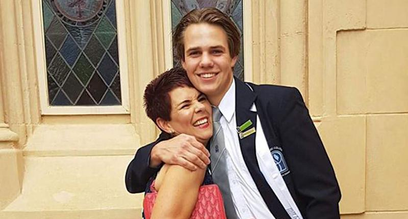 Bailey Chalmers pictured with his mum Danielle.