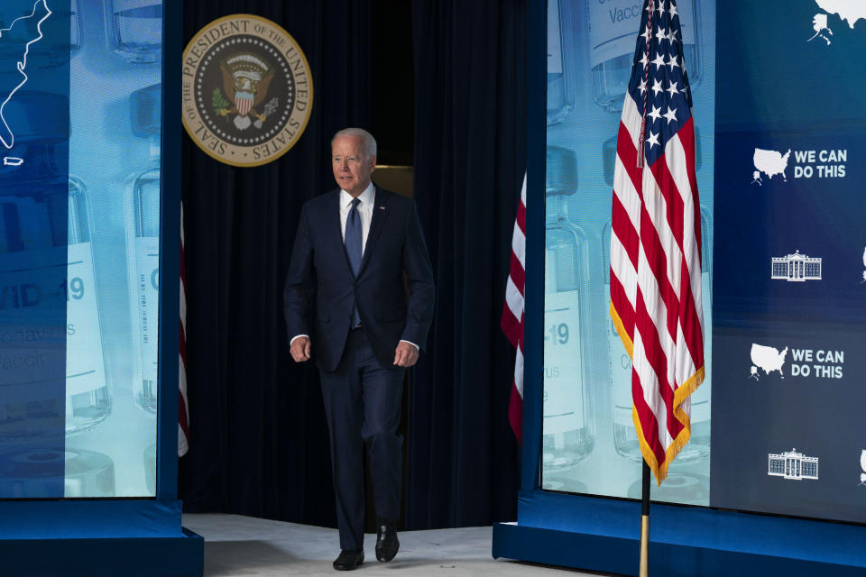 President Joe Biden arrives to deliver remarks about the COVID-19 vaccination program during an event in the South Court Auditorium on the White House campus, Tuesday, July 6, 2021, in Washington. (AP Photo/Evan Vucci)