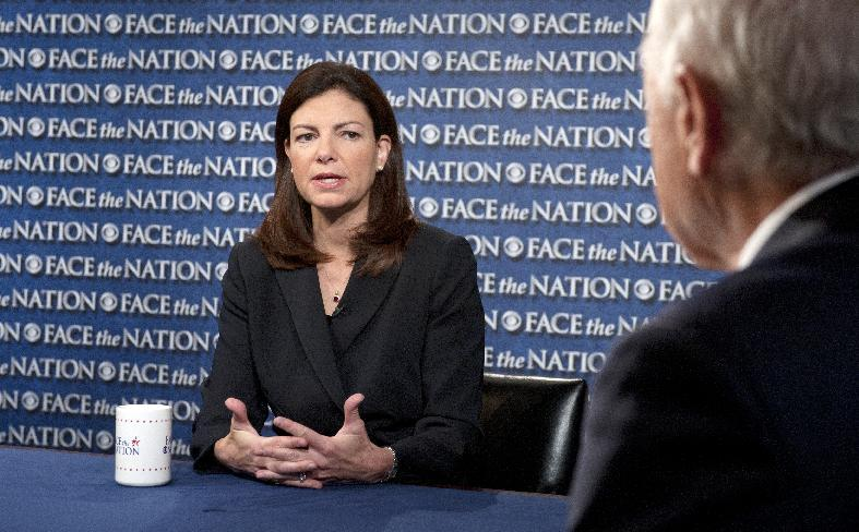 """CORRECTING BYLINE TO CBS NEWS TO REFLECT PROPER NEWS ORGANIZATION ATTRIBUTION ALREADY IN CAPTION BODY AND SOURCE - In this June 6, 2013 photo released by CBS News Sunday, June 9, 2013, Sen. Kelly Ayotte, R-N.H., talks on CBS's Face the Nation in Washington. Ayotte said the Senate proposal for immigration reform secures the border and provides a """"tough but fair"""" way for immigrants to earn citizenship. (AP Photo/CBS News, Chris Usher)"""