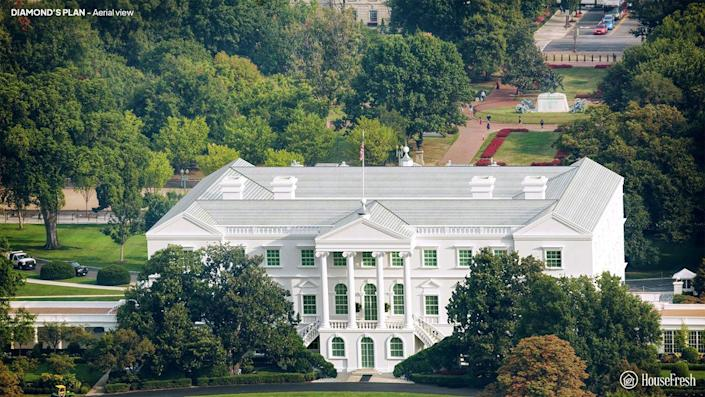 Aerial view of the White House designed by James Diamond.