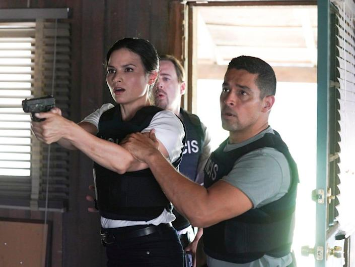 """Pictured: Sean Murray as NCIS Special Agent Timothy McGee, Katrina Law as NCIS Special Agent Jessica Knight , Wilmer Valderrama as NCIS Special Agent Nicholas """"Nick"""" Torres"""