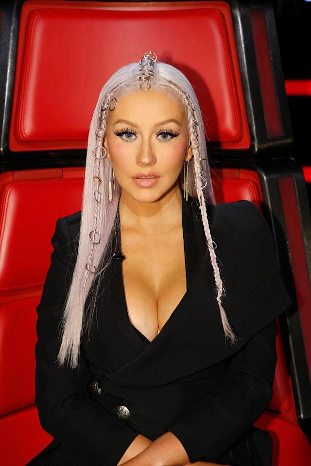 A fan favorite look on <em>The Voice</em> was Aguilera's pierced braided hair. (Photo: Getty Images)