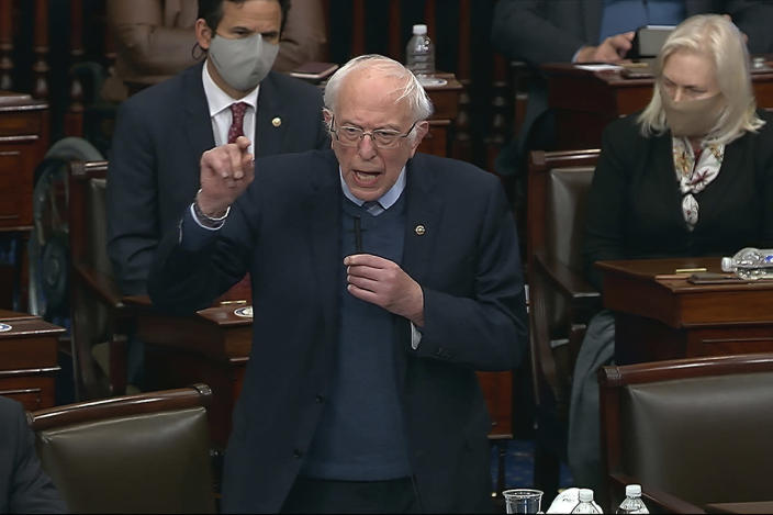In this image from video, Sen. Bernie Sanders, I-Vt., speaks during debate in the Senate at the U.S. Capitol in Washington, Saturday, March 6, 2021. (Senate Television via AP)