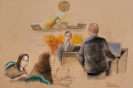 Yujing Zhang (L), charged with bluffing her way into President Donald Trump's Florida resort, appears with her defense attorney Robert Adler (R) before U.S. Magistrate Judge William Matthewman, at her hearing at the U.S. federal court in this courtroom sketch, in West Palm Beach, Florida, U.S., April 8, 2019.  REUTERS/Daniel Pontet
