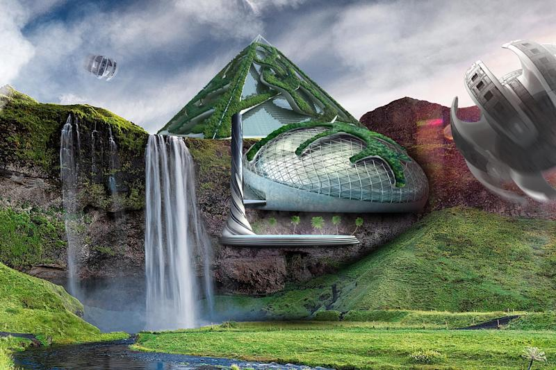 Imagine a future where autonomous shooting travel pods will drop guests off at mesmerising destinations, while miniature eco-systems protected from the elements by bubble-like structures will mirror their surroundings (Hilton)