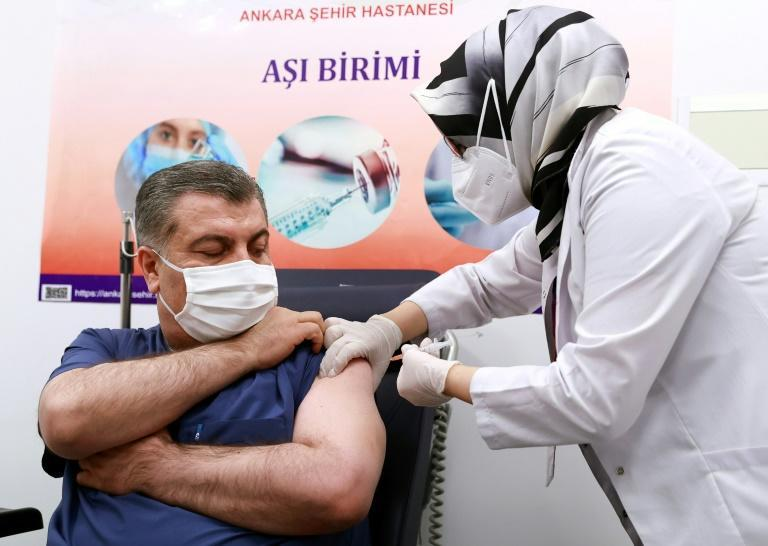 Health Minister Fahrettin Koca was among those to get the Chinese vaccine