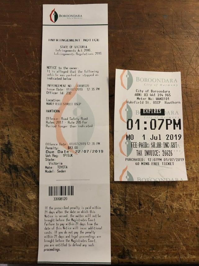 An angry motorist claims he was fined despite having a valid parking ticket. Source: Reddit/GarthVaderX