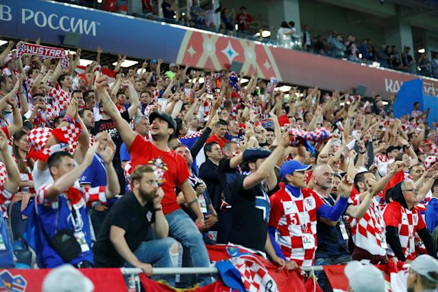 Soccer Football - World Cup - Group D - Croatia vs Nigeria - Kaliningrad Stadium, Kaliningrad, Russia - June 16, 2018 Croatia fans celebrate victory after the match REUTERS/Fabrizio Bensch