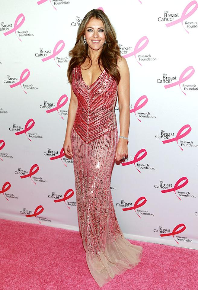 Right behind Kate was actress and Breast Cancer Research Foundation ambassador Liz Hurley, who stole the spotlight in a sequined Blumarine ball gown and Chopard diamonds. Hugh Grant, eat your heart out! (4/17/2013)