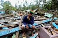 Central American countries slammed by hurricanes Eta and Iota - here a hurricane victim in Puerto Cabezas, Nicaragua - are hoping to get free Covid vaccines