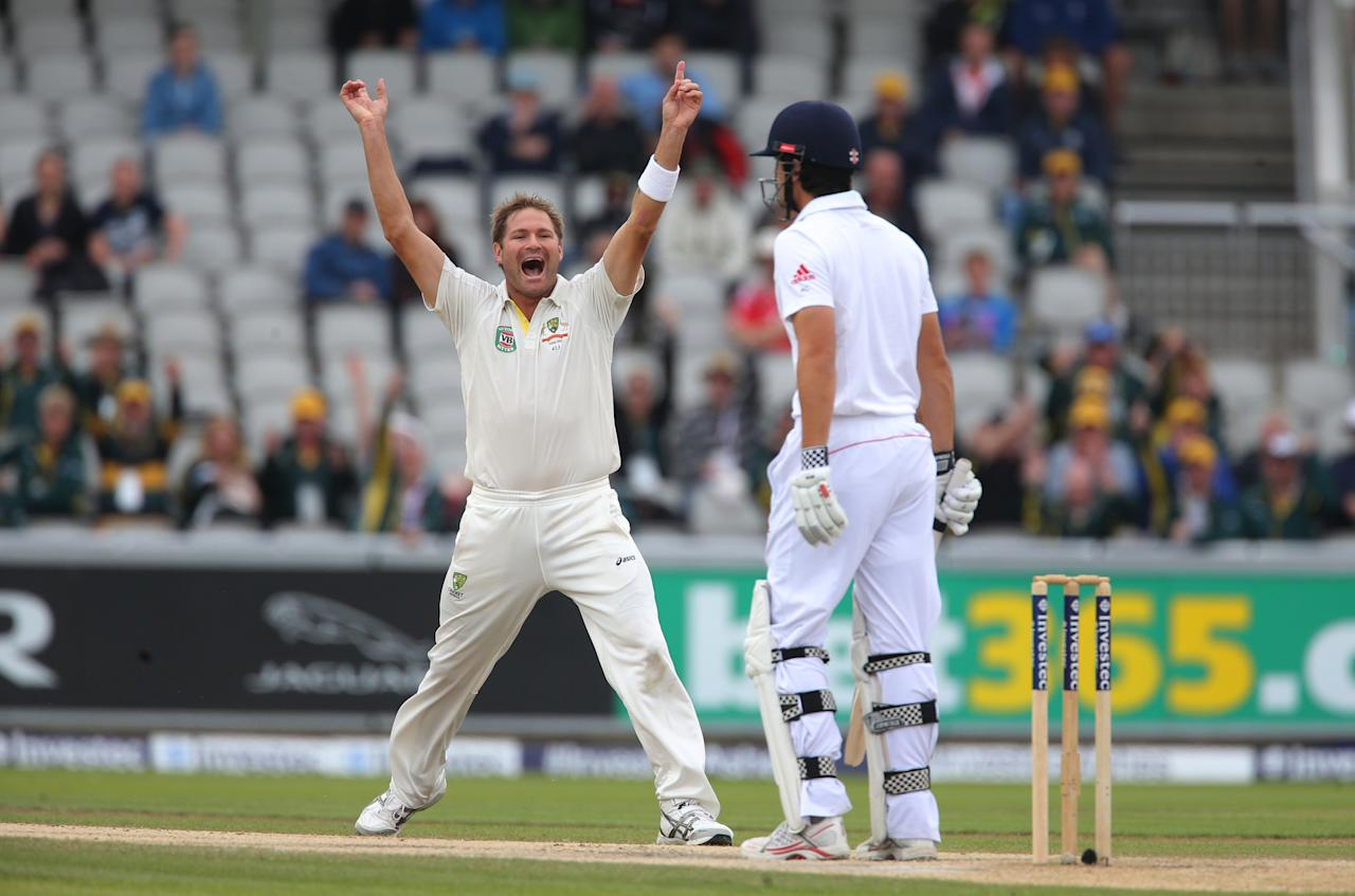 Australia bowler Ryan Harris celebrates trapping England captain Alastair Cook LBW during day five of the Third Investec Ashes test match at Old Trafford Cricket Ground, Manchester.