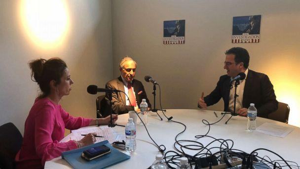 Michael Cohen's lawyer Lanny Davis (center) is seen here with ABC News' Kyra Phillips (left) and ABC News' Chris Vlasto (right) during an interview for 'The Investigation' podcast. (ABC News)