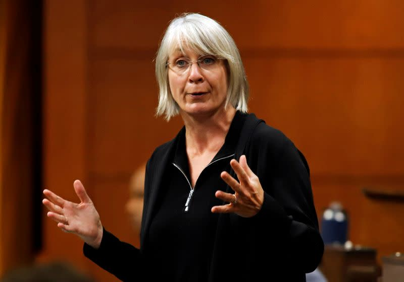 FILE PHOTO: Canada's Minister of Health Patty Hajdu speaks in parliament during Question Period in Ottawa