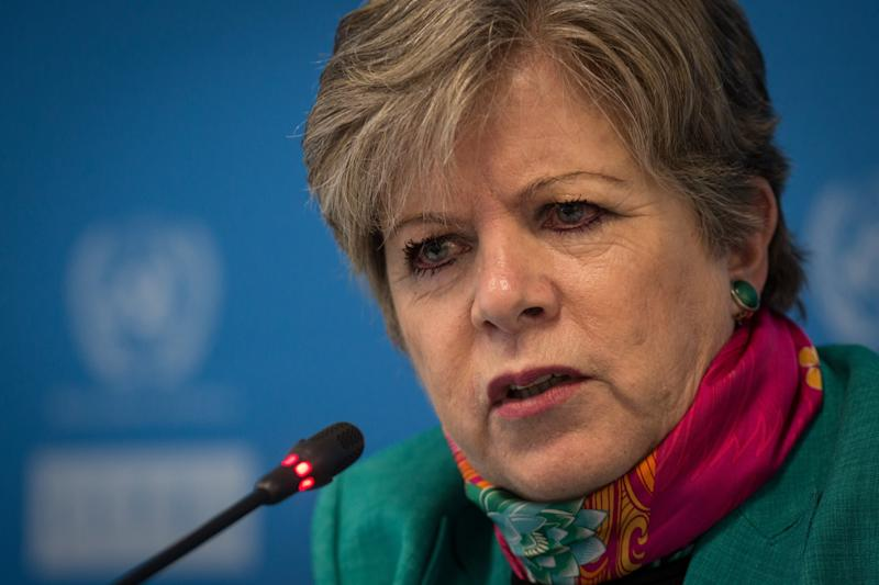 MEXICO CITY, MEXICO - OCTOBER 20: Alicia Barcena, Executive Secretary of the Economic Commission for Latin America and the Caribbean (ECLAC) attends a press conference of the annual report on the trade performance of ECLAC in Mexico City, Mexico on October 20,2015. (Photo by Manuel Velasquez/Anadolu Agency/Getty Images)