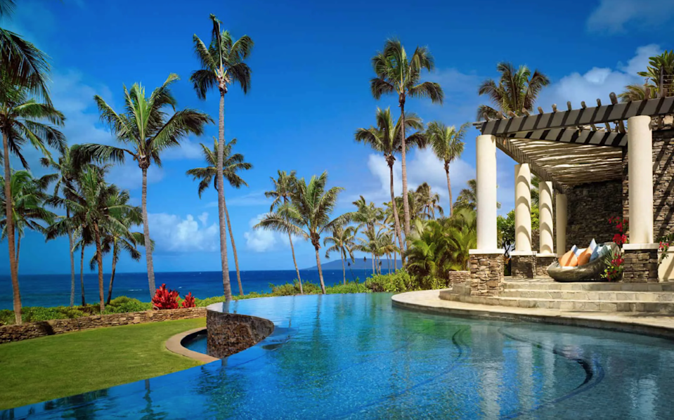"""<p>The <a href=""""https://www.cntraveler.com/hotels/lahaina-maui/montage-kapalua-bay?mbid=synd_yahoo_rss"""" rel=""""nofollow noopener"""" target=""""_blank"""" data-ylk=""""slk:Montage Kapalua Bay"""" class=""""link rapid-noclick-resp"""">Montage Kapalua Bay</a> on Maui is a playground for all ages. As you pull up to this luxe resort, its distinctive triangular roof looms large overhead, with a design made to look like a traditional Hawaiian canoe house. It's all about days at the pool here, though, with plenty of daybeds, a poolside bar that serves charred octopus, and even a triple tiered-pool. Being on Kapalua Bay beach, the resort has great opportunities for snorkeling, and stand-up paddle boards and snorkel gear can be rented for an added fee. There's also a kids club called Paint Box, where children ages five to 12 can explore tide pools or get their hands dirty with art projects. </p> <p>In 2021, keep an eye out for Montage Academy. Designed for students ages six to 17, this Monday through Friday program is meant to provide a supportive space for e-learning, and to complement it with in-person tutoring offered by the resort (there's even access to a virtual tutor from the Princeton Review). </p> <p><strong>Book now:</strong> From $1,611 per night, <a href=""""https://cna.st/affiliate-link/4Jg9UQc1Pqc9vYh9S4B5A6mheHDs5LibrUPbBFKf3CZxTGiKM23zCbmyny4oFaxzgbamMYuGe9T652MhfpZmNYeZvttTnxjzZsGNuGYNLJ536YV9NF1hk9dZZe6EbxJwjA69sWrHmhP6BP7YRK6UzPjkb67X?cid=55099091a15a49046da9a345"""" rel=""""nofollow noopener"""" target=""""_blank"""" data-ylk=""""slk:expedia.com"""" class=""""link rapid-noclick-resp"""">expedia.com</a></p>"""
