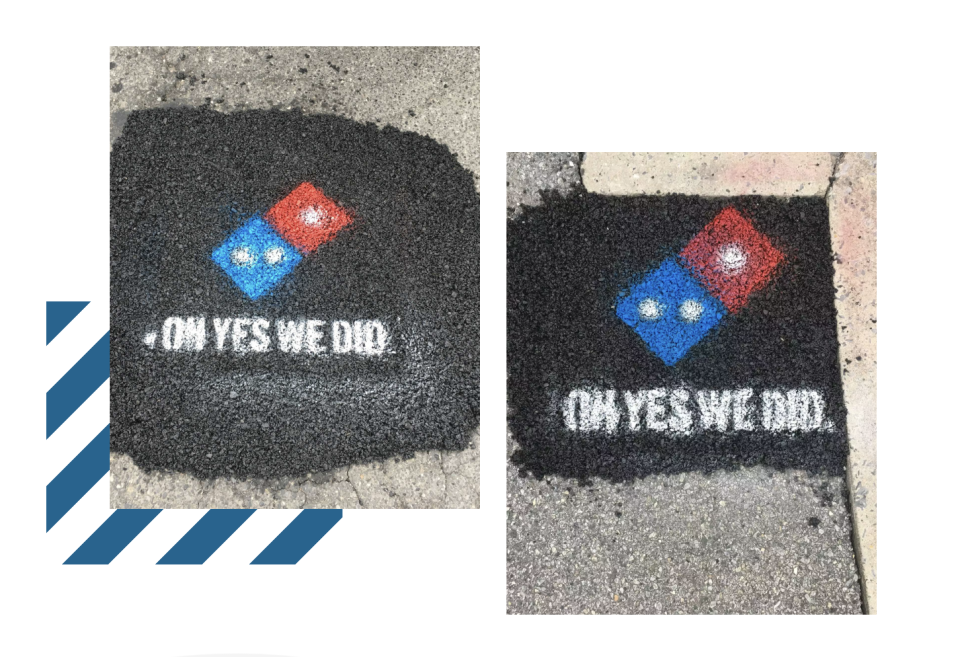 Domino's contribution to fixing potholes in Milford, Delaware. Screenshot from pavingforpizza.com