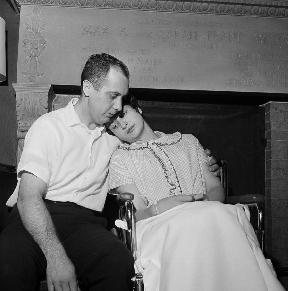 FILE - In this April 30, 1964 file photo, Chester and Dora Fronczak are pictured at a news conference in Michael Reese Hospital in Chicago. Their son, Paul Joseph, was kidnapped from the hospital the day after he was born. A woman in nurse's attire took the boy from the mother's arms midway during feeding, but didn't return him to the hospital nursery. (AP Photo/LO, File)