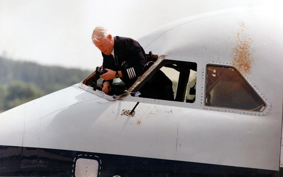 Inspecting the damage after the remarkable incident - Murray Sanders/Daily Mail/Shutterstock