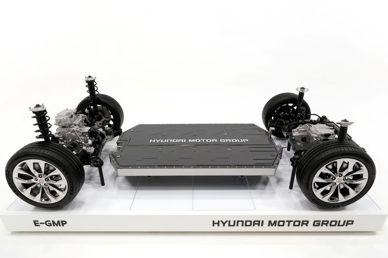 Hyundai's new electric vehicle-focused modular platform Electric Global Modular Platform (E-GMP) is seen