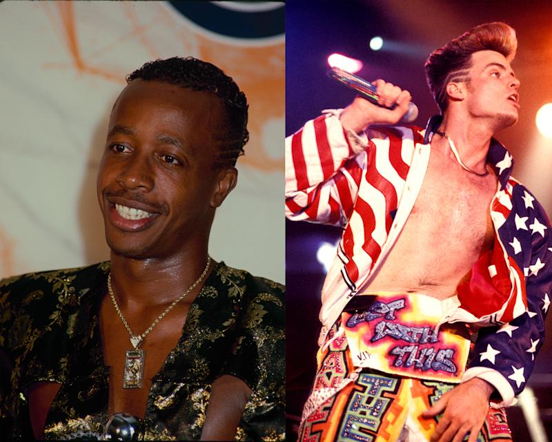 MC Hammer and Vanilla Ice, both with the popular hair style. (Photo: Getty Images)