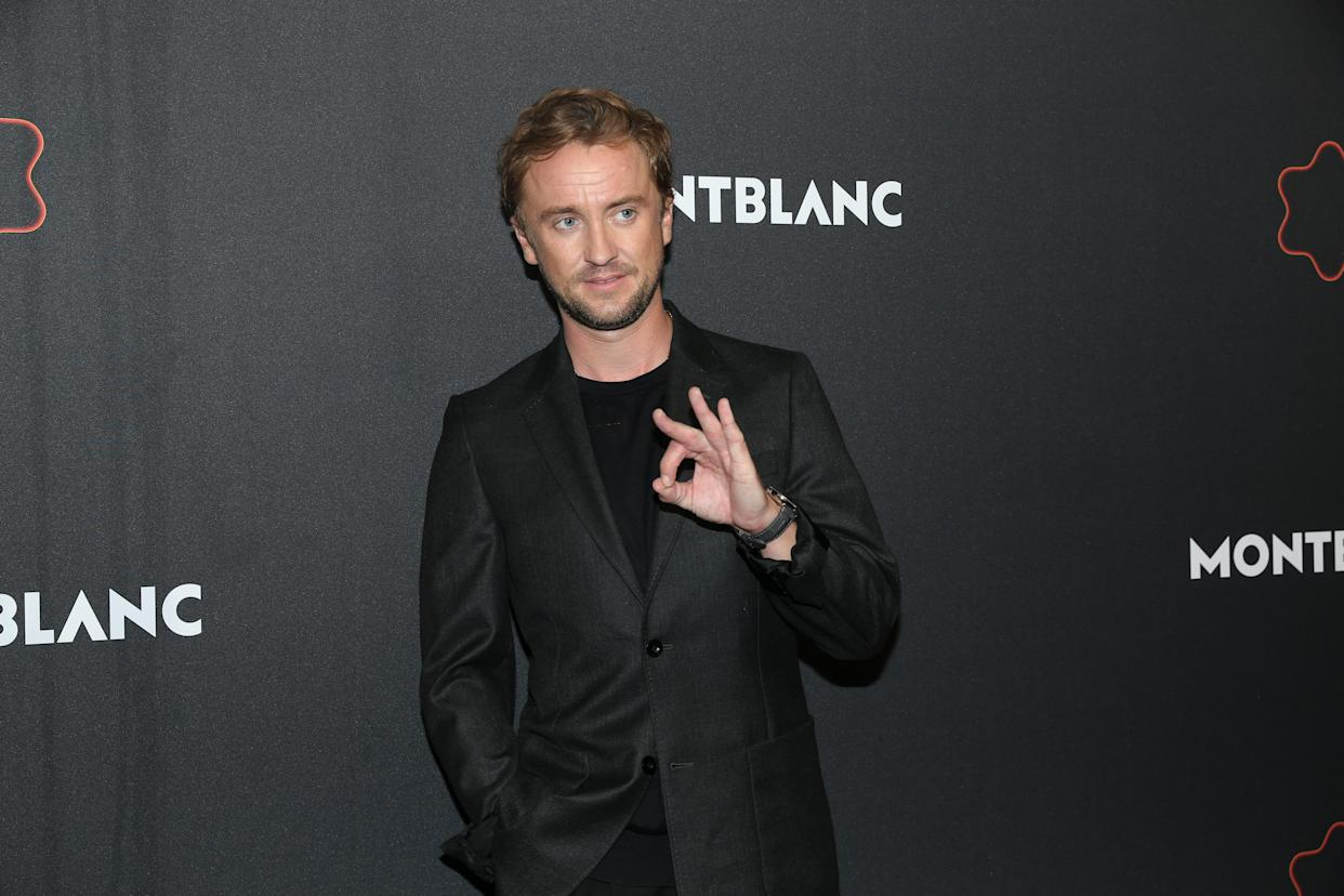 BERLIN, GERMANY - SEPTEMBER 15:  Tom Felton during the Montblanc UltraBlack launch event at Feuerle Collection on September 15, 2021 in Berlin, Germany. (Photo by Gisela Schober/Getty Images for Montblanc)