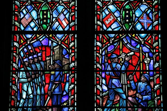 A stained-glass window honoring Robert E. Lee, commander of the Confederate Army of Northern Virginia in the American Civil War, installed at the Washington Cathedral is seen June 29, 2015 in Washington, DC. / Credit: Alex Wong / Getty Images