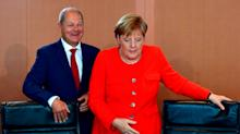 German finance minister Olaf Scholz warns of 'German Trump' if pensions reforms not backed by Merkel