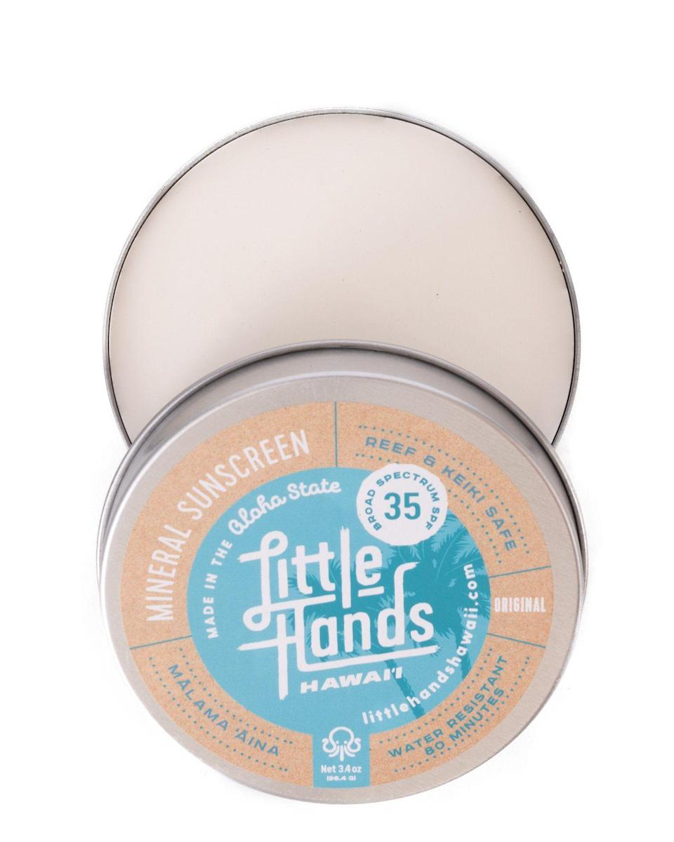 """<p><strong>Little Hands Hawaii</strong></p><p>littlehandshawaii.com</p><p><strong>$20.00</strong></p><p><a href=""""https://littlehandshawaii.com/products/3-4oz-organic-spf-35-sunscreen"""" rel=""""nofollow noopener"""" target=""""_blank"""" data-ylk=""""slk:Shop Now"""" class=""""link rapid-noclick-resp"""">Shop Now</a></p><p>A creamy sunscreen and moisturizer hybrid in an eco-friendly tin that's available in both regular and tinted formulations? What's not to love? """"This product also contains antioxidants and essential oils, which is why it's one of my go-tos,"""" says Zalka. It gets its SPF from non-nano zinc oxide; the moisturizing properties come from natural hydrators like coconut oil, jojoba oil, kokum butter, and beeswax. </p>"""