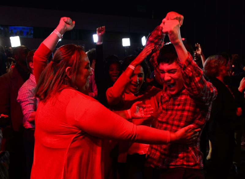Liberal supports react as poll numbers come in at Liberal election headquarters in Montreal on Monday Oct. 21, 2019. THE CANADIAN PRESS/Sean Kilpatrick