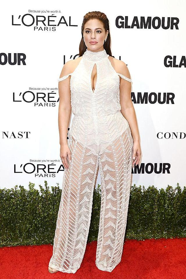 <p>Model Ashley Graham wears a beaded, sheer-pant jumpsuit at the Glamour Women of the Year Awards in 2016. (Photo: Getty Images) </p>