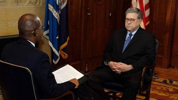 PHOTO: Attorney General William Barr speaks to ABC News' Pierre Thomas during an interview on Feb. 13, 2020. (Jack Date/ABC News)