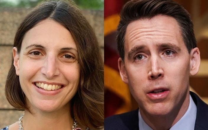 Law professor Irina D. Manta and Sen. Josh Hawley.