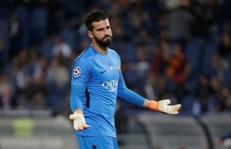 FILE PHOTO: Roma's Alisson Becker reacts. REUTERS/Max Rossi