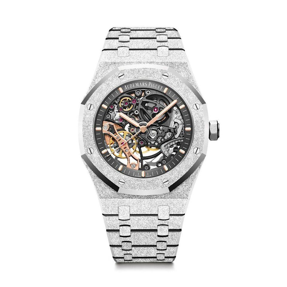 """<p><strong>Audemars Piguet</strong></p><p>materialgood.com</p><p><strong>$92800.00</strong></p><p><a href=""""https://www.materialgood.com/collections/audemars-piguet/products/royal-oak-frosted-gold-double-balance-wheel-openworked-15407bc-gg-1224bc-01"""" rel=""""nofollow noopener"""" target=""""_blank"""" data-ylk=""""slk:SHOP NOW"""" class=""""link rapid-noclick-resp"""">SHOP NOW</a></p><p>This is the ultimate anniversary splurge. For the watch-obsessed, surprise him with an open-worked watch encrusted with diamonds. This gift will speak not only to his passions and the customary materials for a 10th-anniversary gift, but also to the amount of time you've spent together.</p>"""