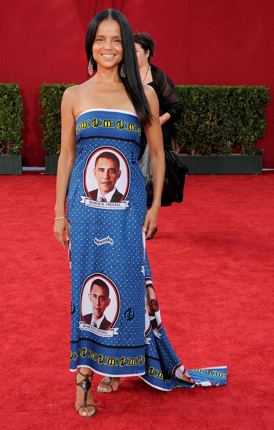 Rowell says she had an Obama dress made for the Emmys to voice support for Obamacare. (Photo: Gregg DeGuire/FilmMagic)