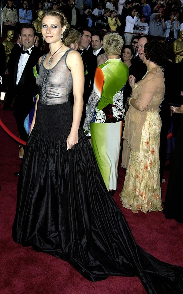 "Gwyneth Paltrow, 2002: Alexander McQueen has dressed the best of them, but Paltrow couldn't hold up under scrutiny in this transparent creation. In a sheer mesh top and frowsy black skirt, the actress aimed for Goth, but people saw through that attempt. Paltrow harbored no regrets. ""I loved it,"" she reminisced to Harper's Bazaar. ""But I think the hair was a mistake. I shouldn't have had it braided."""