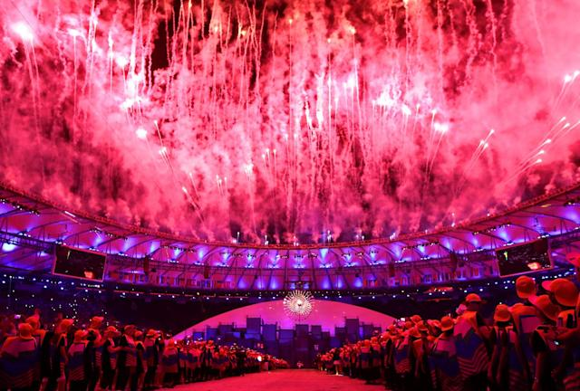 <p>Fireworks explode during the Opening Ceremony of the Rio 2016 Olympic Games at Maracana Stadium on August 5, 2016 in Rio de Janeiro, Brazil. (Photo by Cameron Spencer/Getty Images) </p>