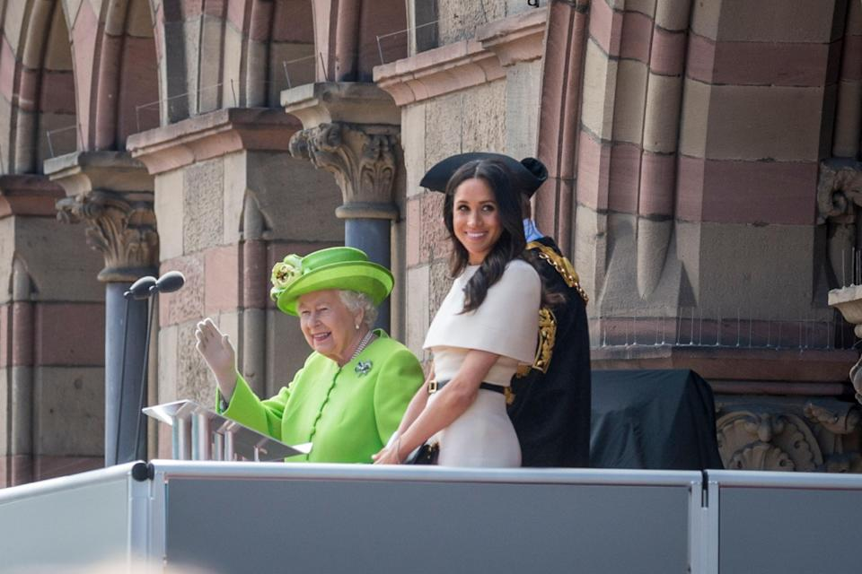Meghan Markle and Queen Elizabeth greet crowd