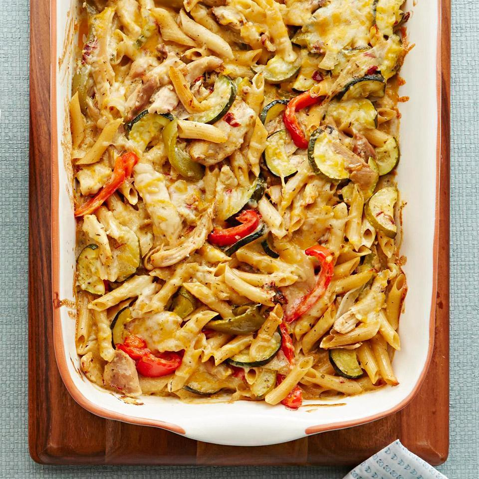 """<p>Simplify weeknight dinnertime by transforming leftover slow-cooked chicken (see associated recipe, below) into an easy, cheesy casserole. <a href=""""http://www.eatingwell.com/recipe/259593/chipotle-ranch-chicken-casserole/"""" rel=""""nofollow noopener"""" target=""""_blank"""" data-ylk=""""slk:View recipe"""" class=""""link rapid-noclick-resp""""> View recipe </a></p>"""