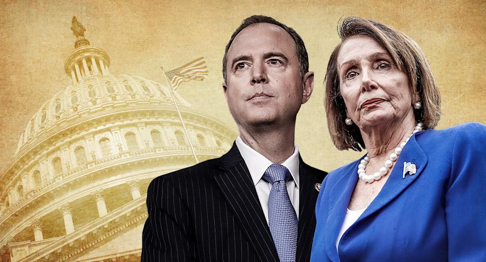 House Intel Chair Adam Schiff and House Speaker Nancy Pelosi. (Yahoo News photo illustration; photos: AP, Getty Images)