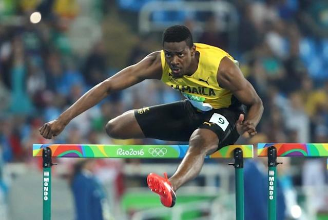 Deuce Carter ran a 13.50 in his second attempt in the 110-meter hurdles. (Reuters)