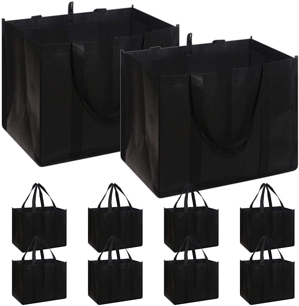 <p>Even if you're buying food for a small army, you can fit everything in these <span>Reusable Grocery Bags</span> ($22 for 10).</p>