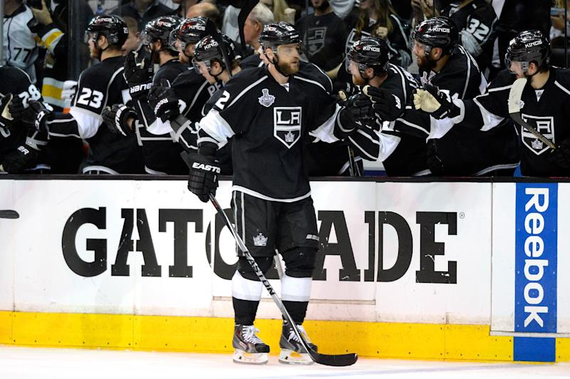 Marian Gaborik of the Los Angeles Kings celebrates his third period goal with teammates against the New York Rangers during Game Five of the 2014 Stanley Cup Final at Staples Center on June 13, 2014 in Los Angeles, California