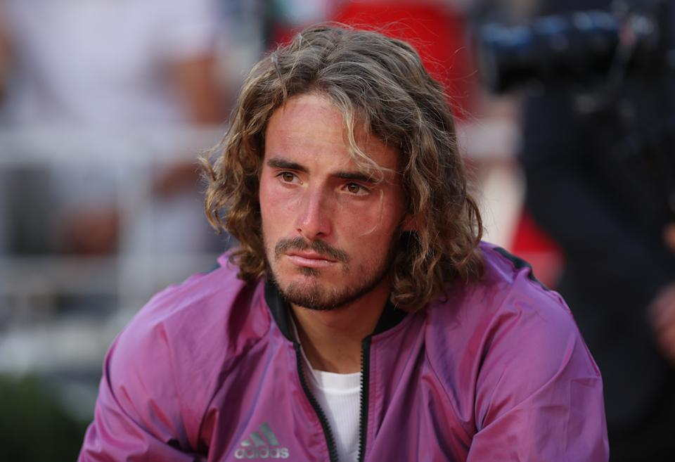 Stefanos Tsitsipas of Greece reacts during the awarding ceremony after the Men's Singles finals match against Novak Djokovic of Serbia at the French Open tennis tournament at Roland Garros in Paris, France, June 13, 2021. (Photo by Gao Jing/Xinhua via Getty Images)
