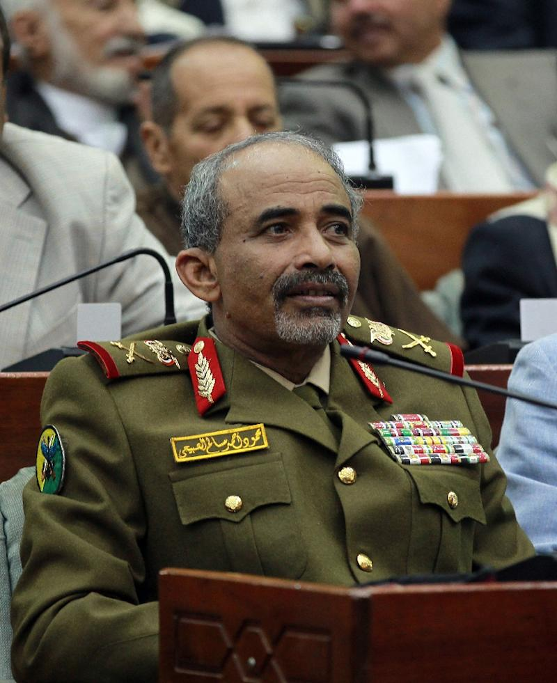 Yemeni Defence Minister Mahmoud al-Subaihi looks on during a 2014 parliamentary session in Sanaa
