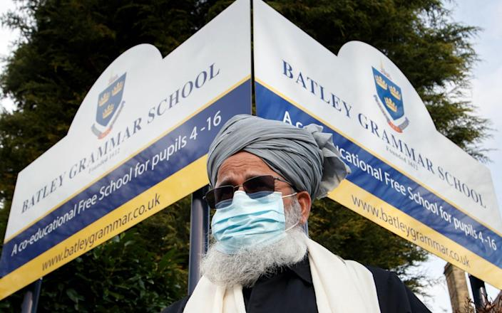 Protesters gathered outside Batley Grammar School after it was reported that a teacher had shown students images of the Prophet Mohammed